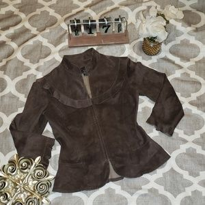 BCBG MAXAZRIA 100% Leather Espresso Jacket